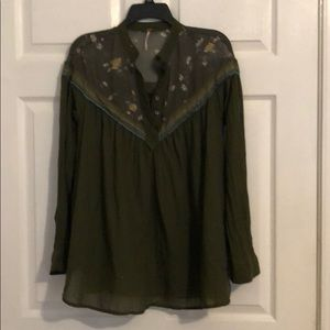 Khaki green Free People top. Sz xs